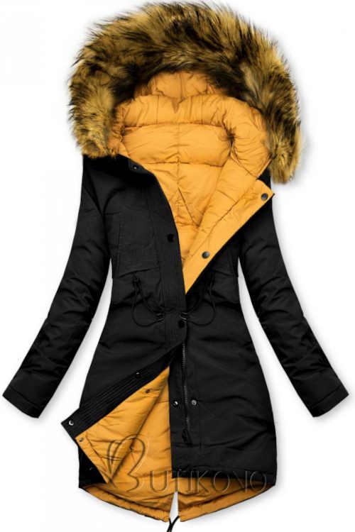 Černo-žlutá dámská oboustranná praktická zimní bunda