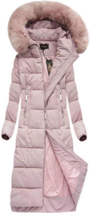 Dámská dlouhá zimní bunda s kapucí v pudrové růžové barvě