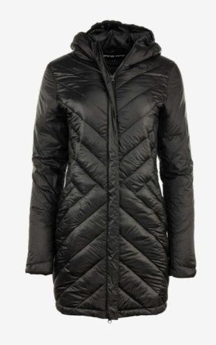 Dámský prošívaný dlouhý kabát s kapucí Alpine Pro