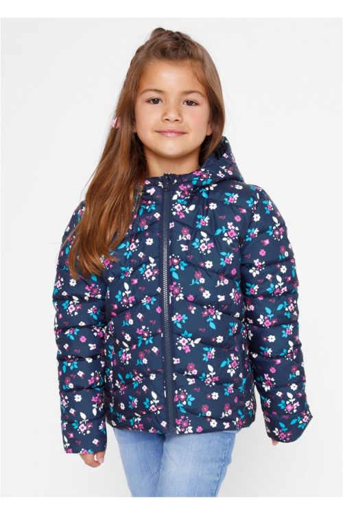 Dívčí moderní prošívaná bunda s drobným potiskem