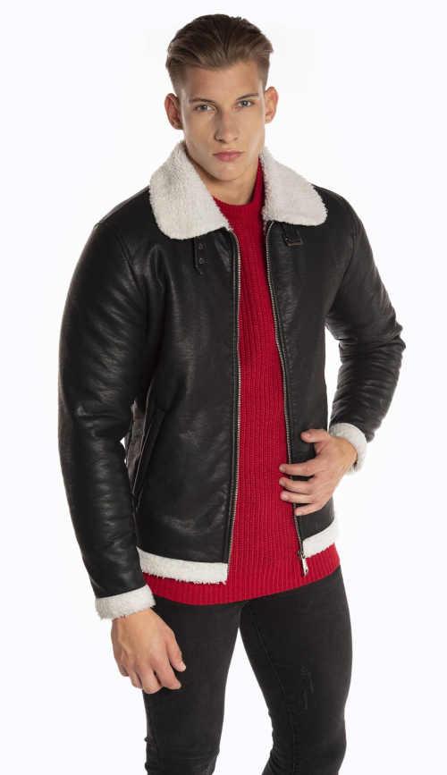 Moderní pánská krátká bunda v imitace kůže s hřejivou podšívkou