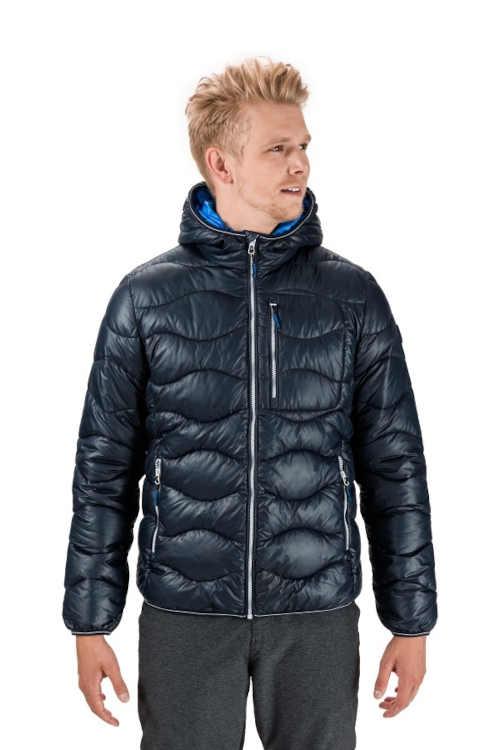 Pánská bunda do pasu s designovým prošitím a kapucí