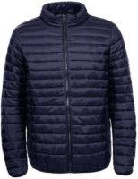 Pánská krátká prošívaná bunda v tmavě modrém provedení
