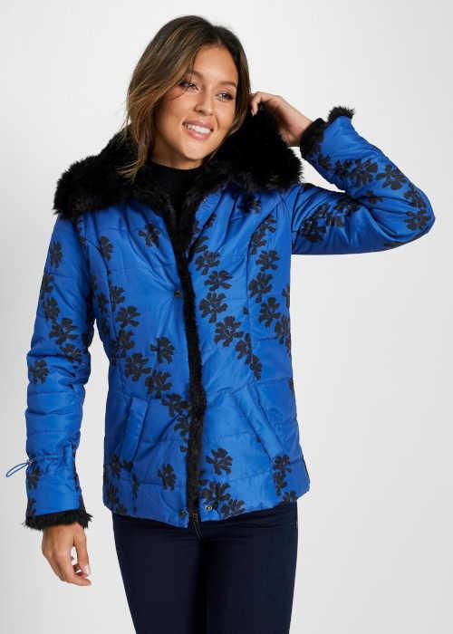 černo-modrá dámská krátká bunda