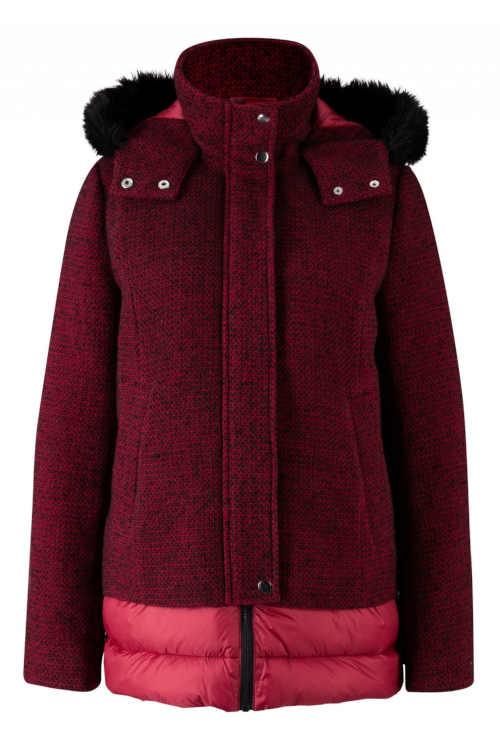 červená dámská bunda v kratší délce