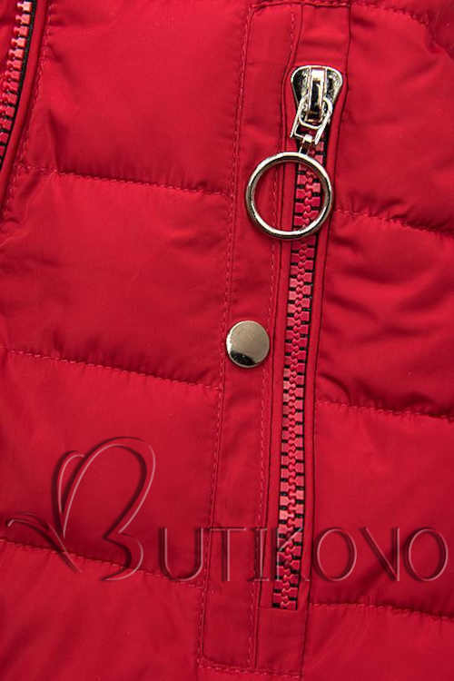 dámská moderní bunda v červeném provedení