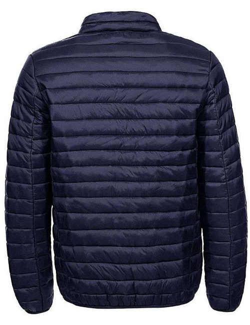 krátká bunda v tmavě modré barvě se stojáčkem