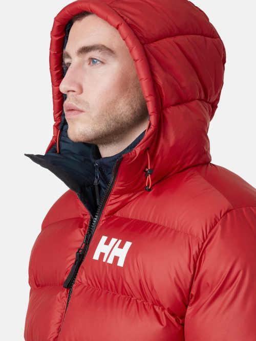 pánská zimní bunda do pasu červeno-modrá