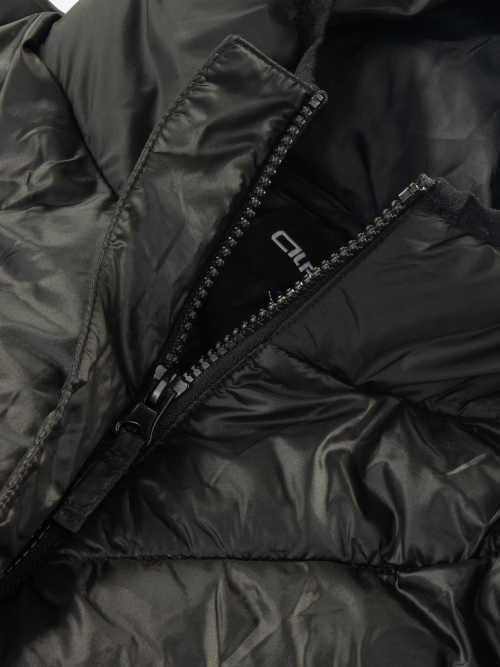 prošívaný dlouhý zimní kabát s kapucí