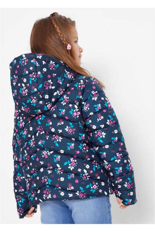 zimní kvalitní bunda s kapucí a květinovým potiskem