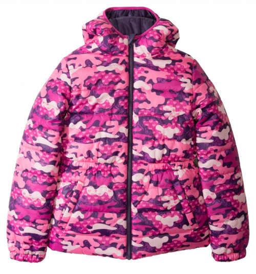Růžová maskáčová dívčí zimní bunda