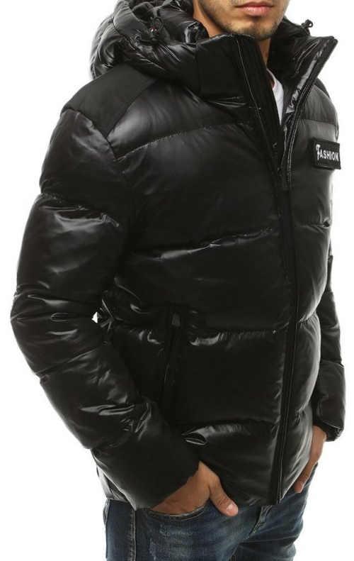 Černá lesklá zimní bunda pro muže