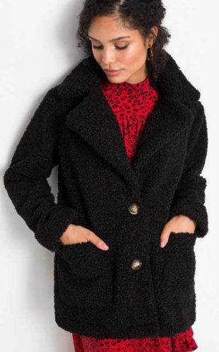 Černý medvídkový krátký kabát