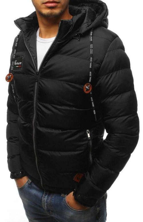 Elegantní černá prošívaná pánská zimní bunda výprodej