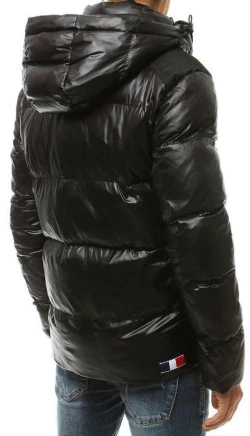 Jednobarevná černá lesklá pánská prošívaná zimní bunda