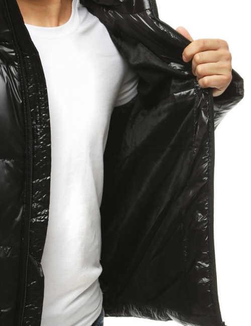 Jednobarevná černá pánská bunda na zimu
