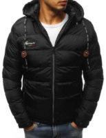 Krásná černá pánská teplá bunda s odnímatelnou nastavitelnou kapucí