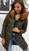 Olivově zelená prodloužená prošívaná zimní bunda s liškou