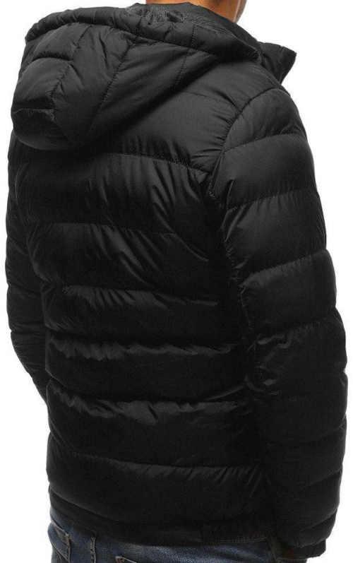 Sleva černá pánská zimní prošívaná bunda s kapucí