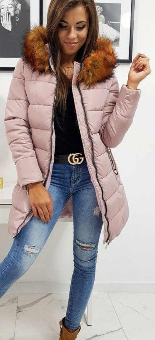 Starorůžová prodloužená dámská zimní bunda s liškou