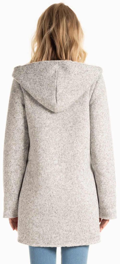 Světle šedý dámský zimní kabát levně