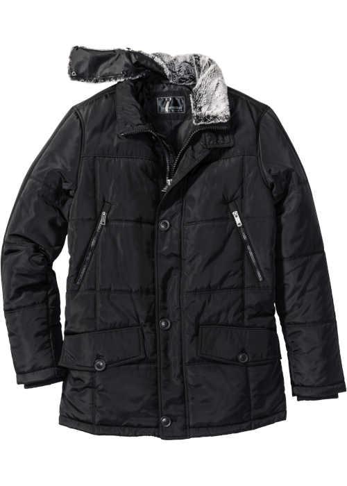 Černá moderní pánská bunda s odnímatelným límcem