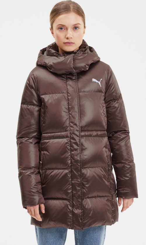 Dámská módní prošívaná bunda Puma v hnědém provedení