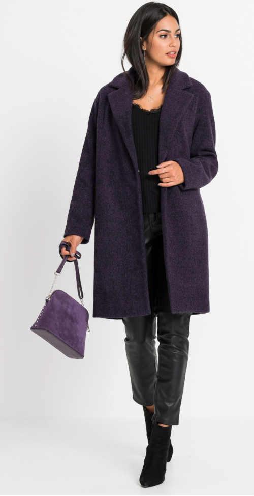 Dámský kabát ve vlněném designu v tmavě fialové barvě