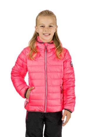 Dívčí růžová prošívaná bunda s integrovanou kapucí