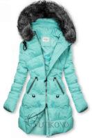 Módní dámská prošívaná bunda s kapucí v azurové barvě