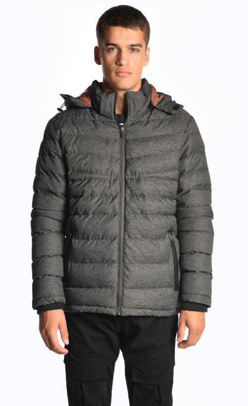 Pánská moderní prošívaná bunda s odnímatelnou kapucí
