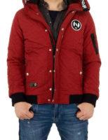 Pánská zimní bunda s kapucí v červeném provedení