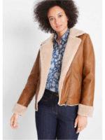 Stylová krátká bunda z umělé kůže s medvídkovou podšívkou