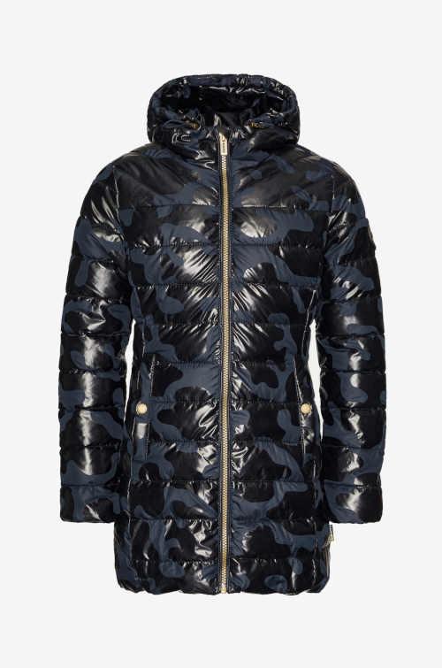 dětský kabát v modro-černém provedení