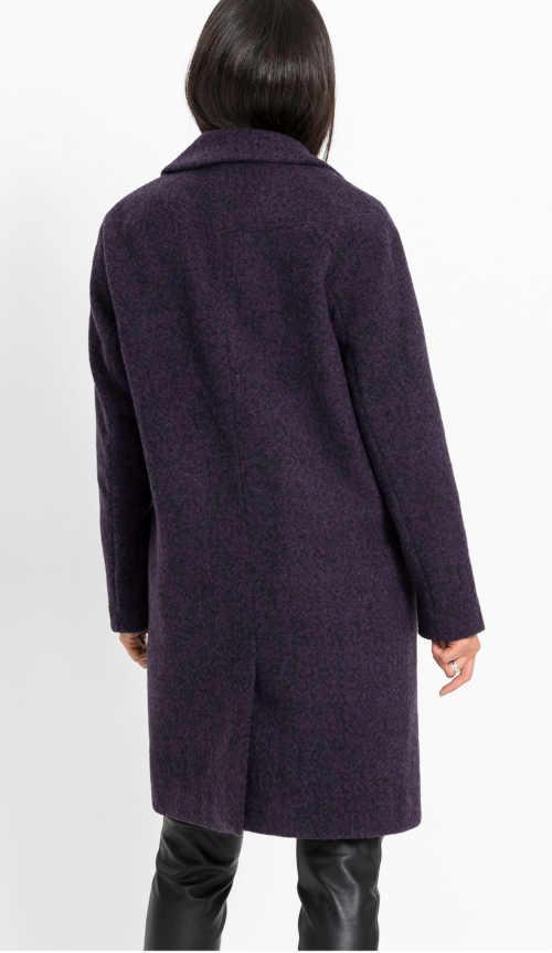 fialový dámský kabát s kapsami