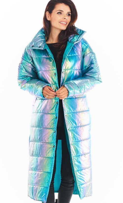 holografická dámská dlouhá bunda