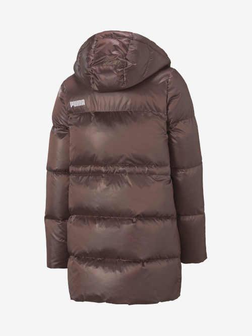prošívaná dámská hnědá bunda v prodloužené délce