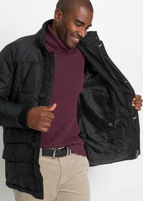zimní zateplená bunda s kožešinovým límcem