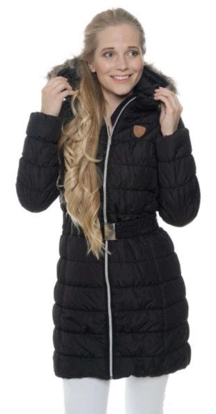 Černý prošívaný prodloužený dámský zimní kabát s kapucí SAM73