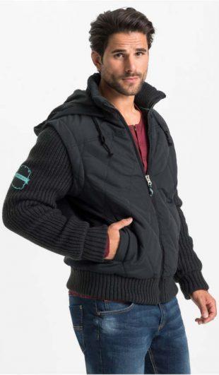 Černá pánská zimní bunda s pletenými rukávy a spodním lemem