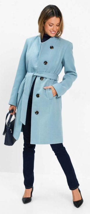 Dlouhý dámský blejzrovy kabát v petrolejové barvě