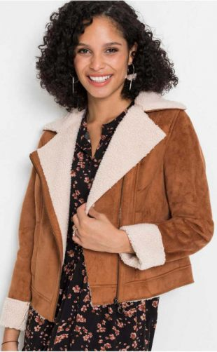 Hnědá dámská zimní bunda z umělé jehněčí kůže