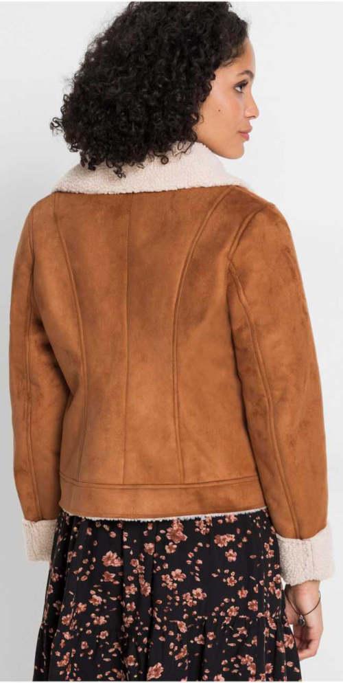 Hnědá dámská zimní bunda z umělé kůže