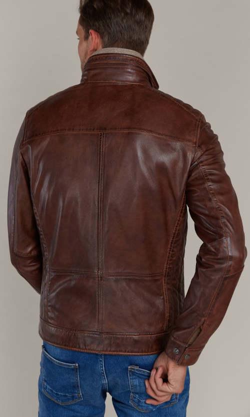 Hnědá kožená pánská bunda Kara