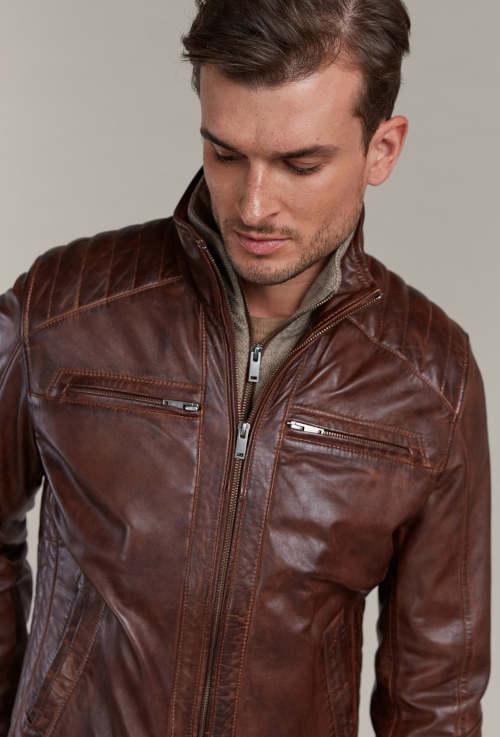 Koňaková kožená bunda z jehnětiny s odnímatelnou úpletovou vložkou