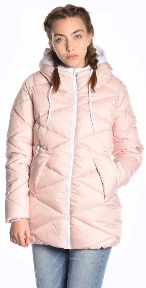 Levná růžová dámská prošívaná vatovaná bunda s kontrastními detaily
