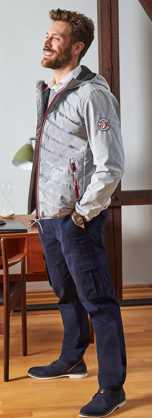 Moderní pánská softshellová bunda šedá barva