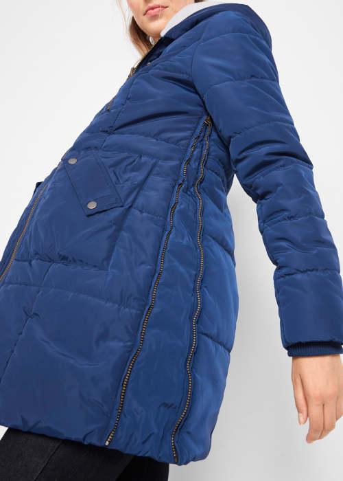 Modrá prošívaná těhotenská dámská zimní bunda