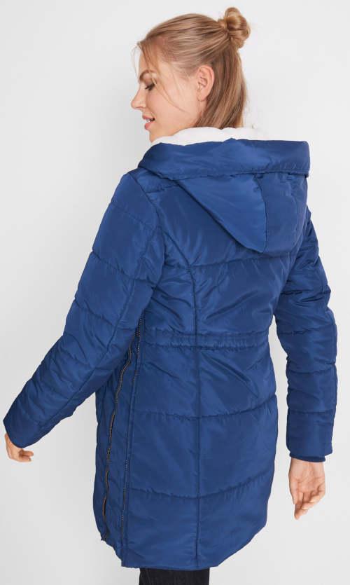 Teplá modrá dámská prošívaná zimní bunda Bonprix