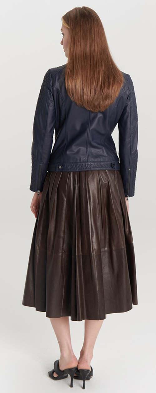 Tmavě modrá kožená dámská bunda Kara